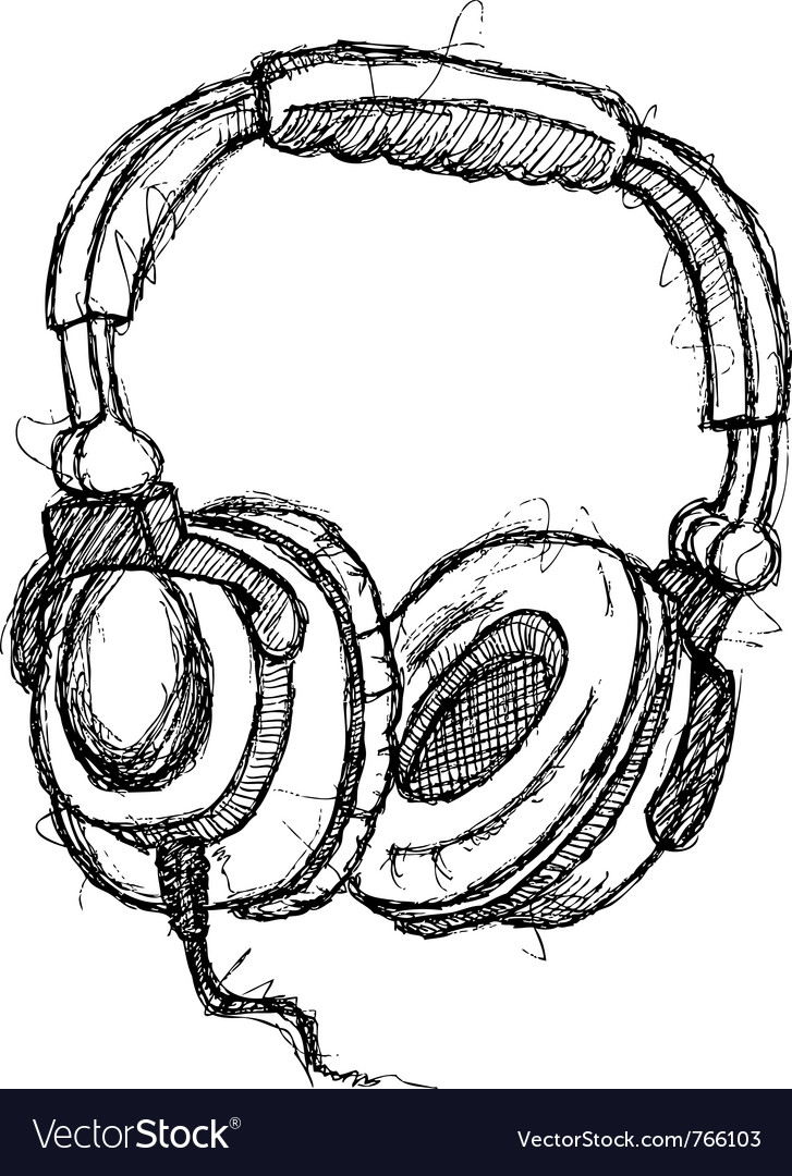 Scribble series  headphones vector
