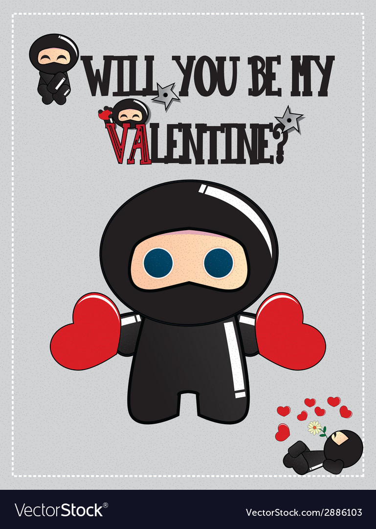 Valentines day card with cute cartoon ninja vector