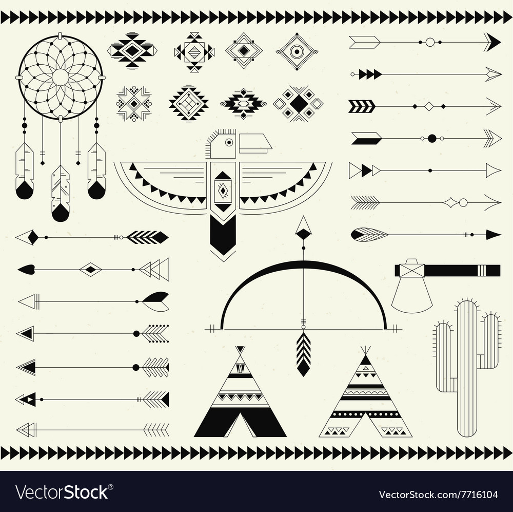 Tribal native american indian element vector