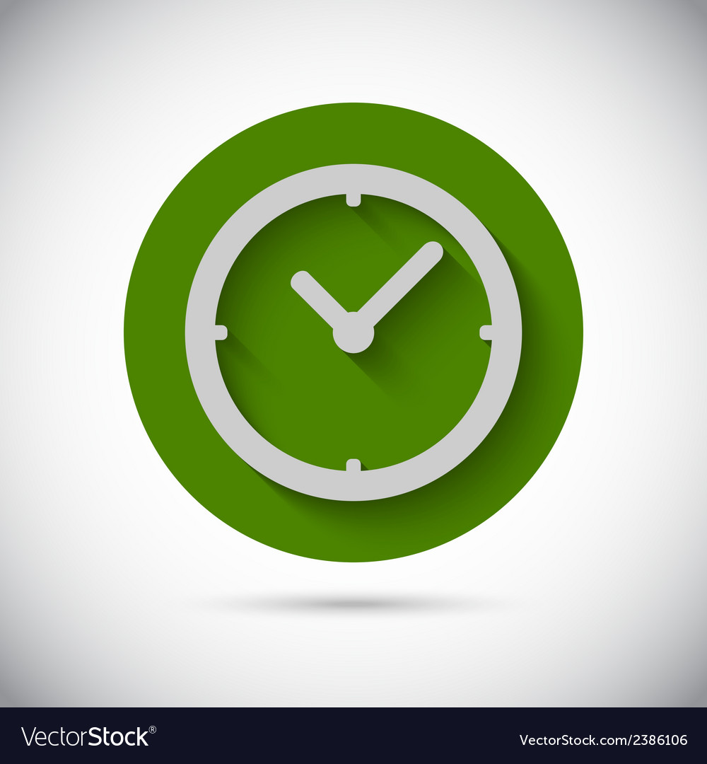 Clock watch flat icon vector
