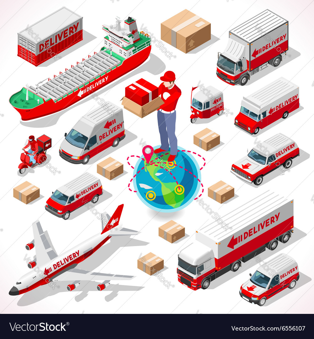 Delivery 05 infographic isometric vector