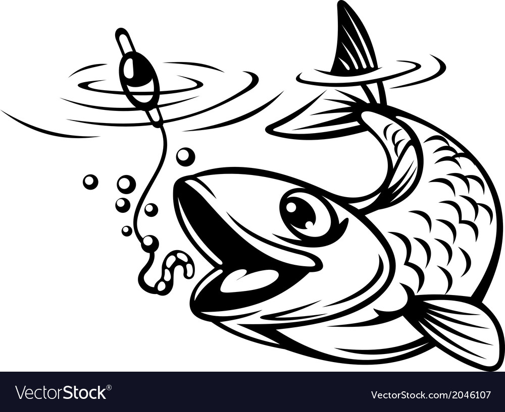 Fish oh hook vector