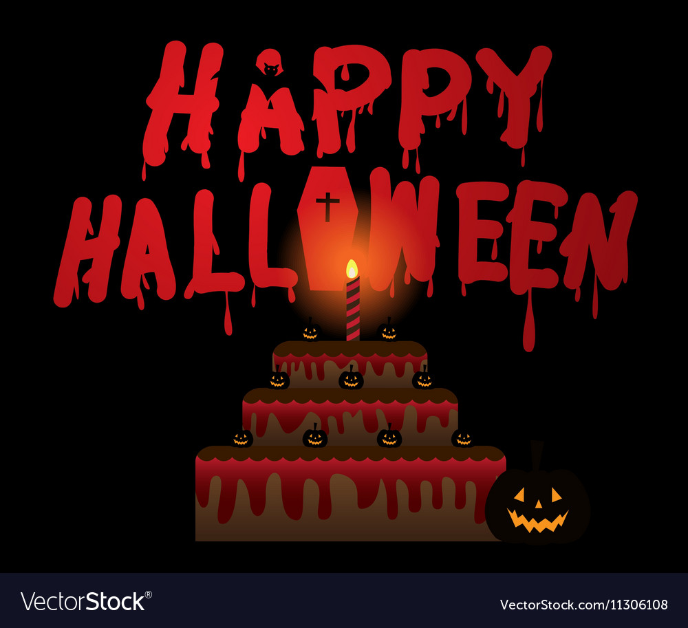 Halloween pumpkin and cake halloween vector