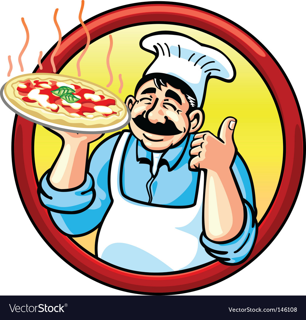 Pizza man vector