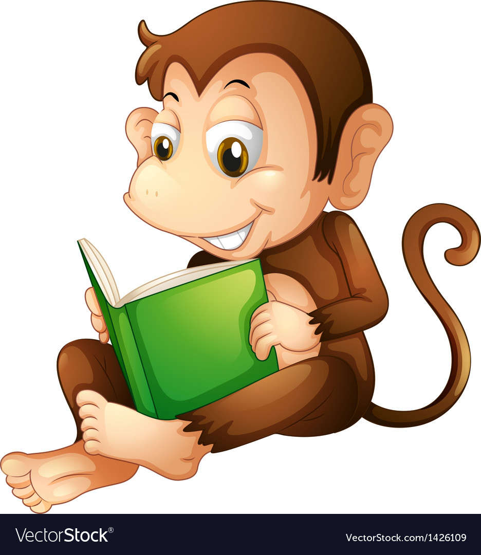A monkey sitting while reading a book vector
