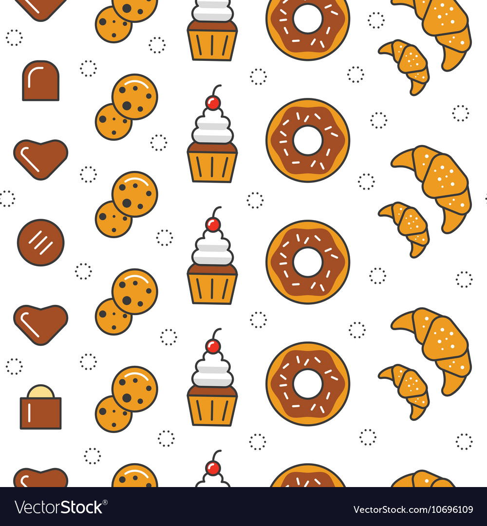 Bakery and desserts line art thin seamless pattern vector