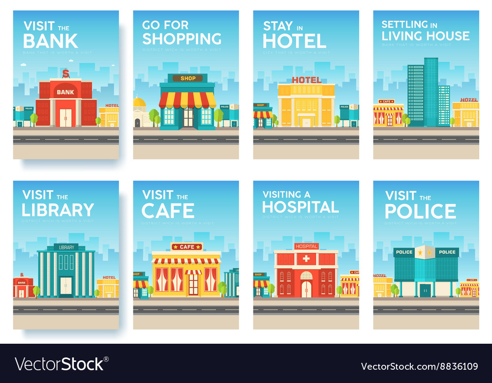 Building city information cards set architecture vector