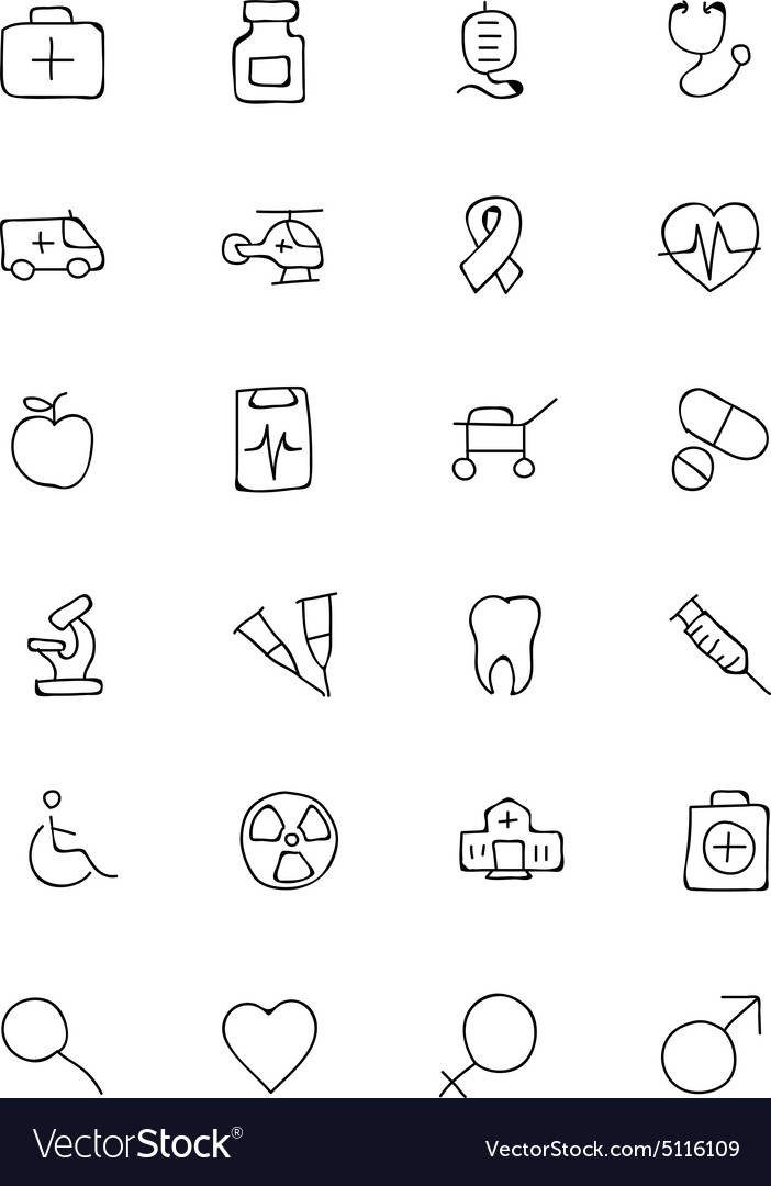 Medical hand drawn icons 1 vector