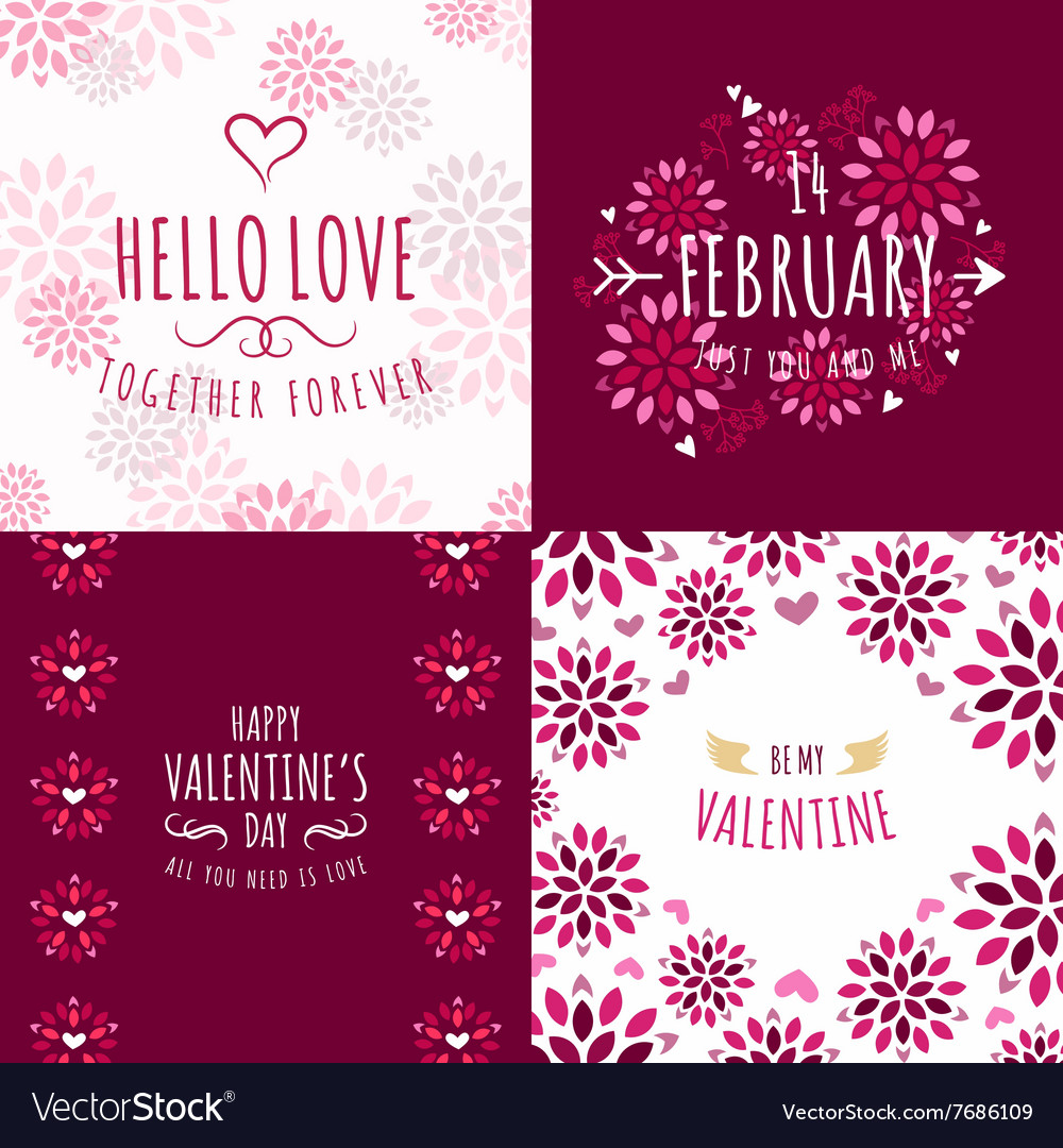 Set of decorative floral frames with greeting text vector