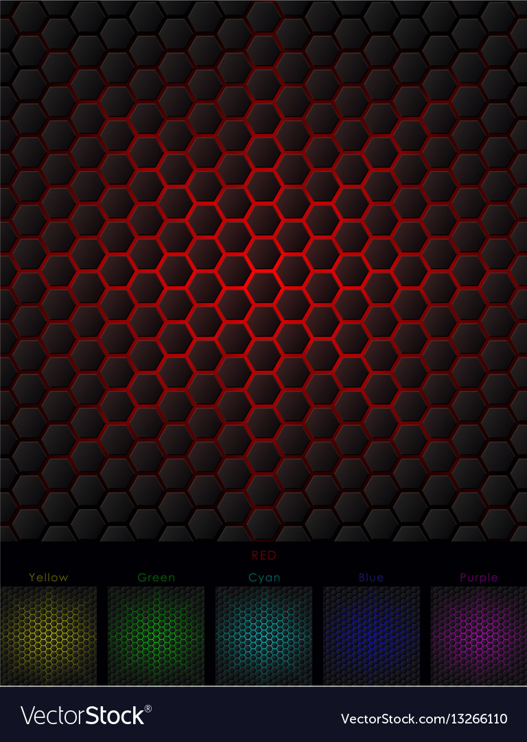 Hexagon background six isolated variants vector