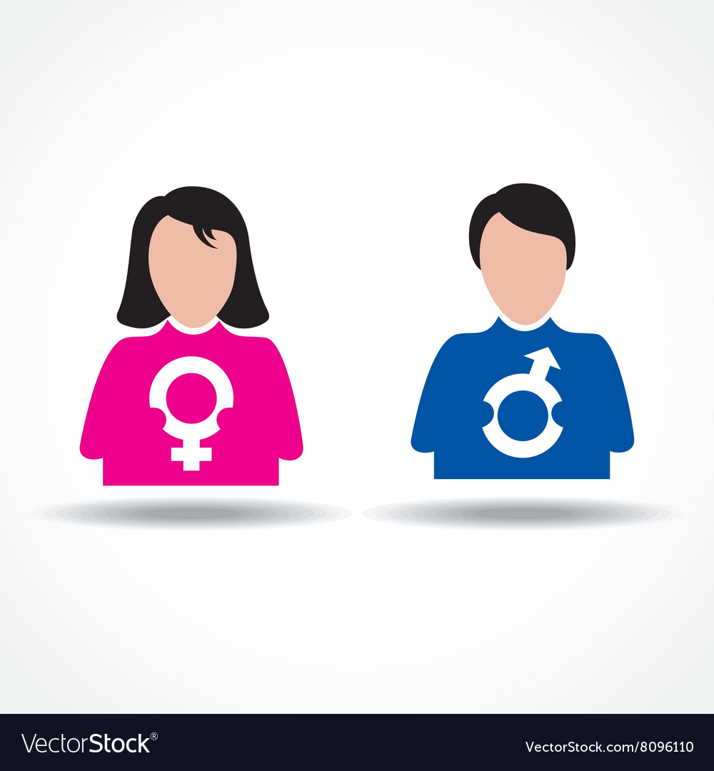 Male female icon having their symbol stock vector