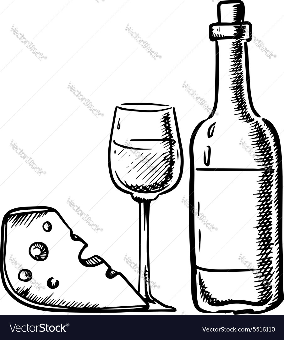 Wine bottle with glass and cheese vector