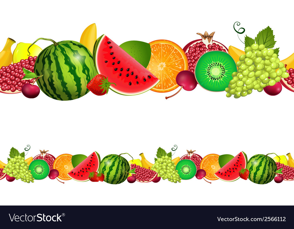 Seamless border of fruit vector