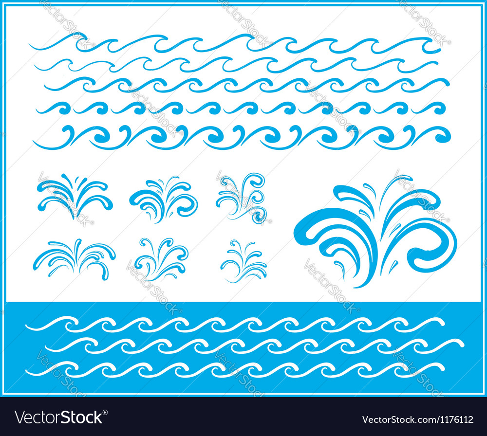 Set of wave symbols for design vector