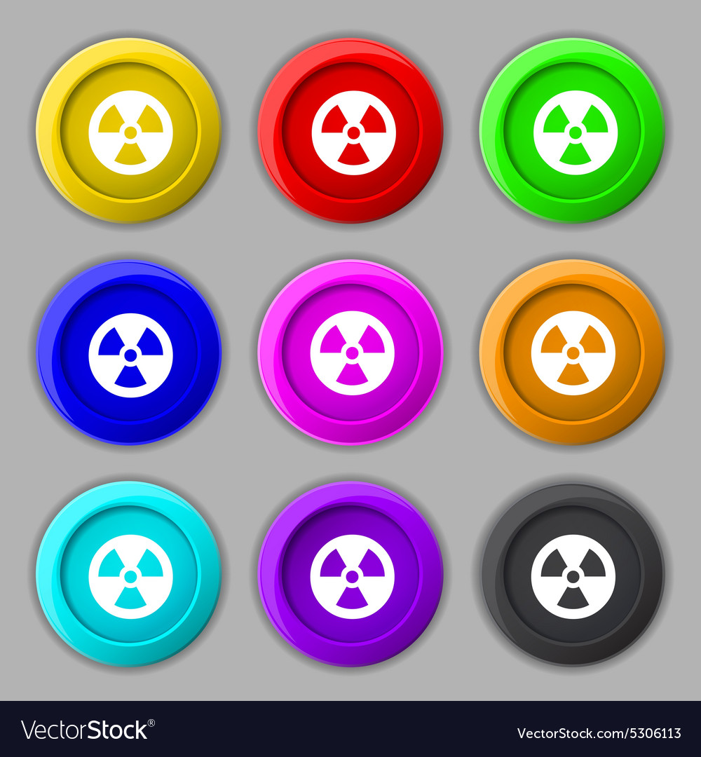 Radiation icon sign symbol on nine round colourful vector