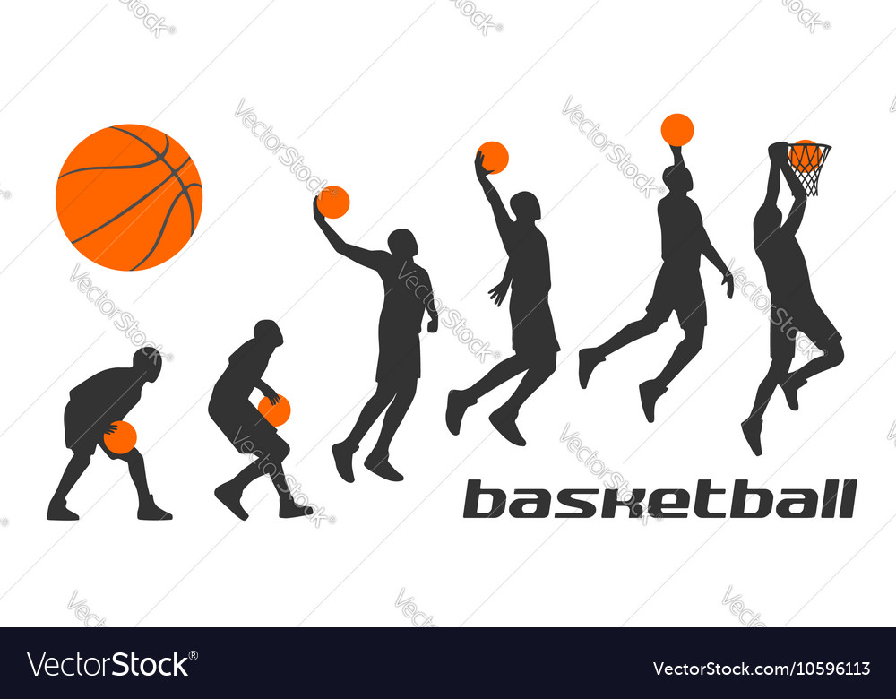 Set different poses basketball players in vector