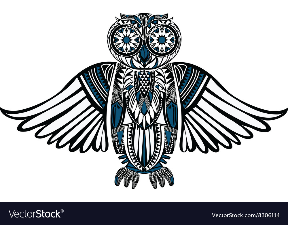 Handdrawn owl with abstract pattern vector