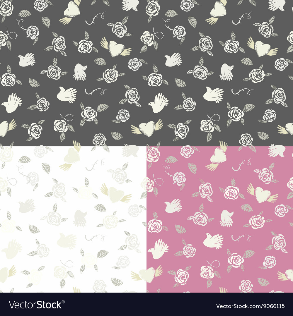 One seamless pattern on three various backgrounds vector