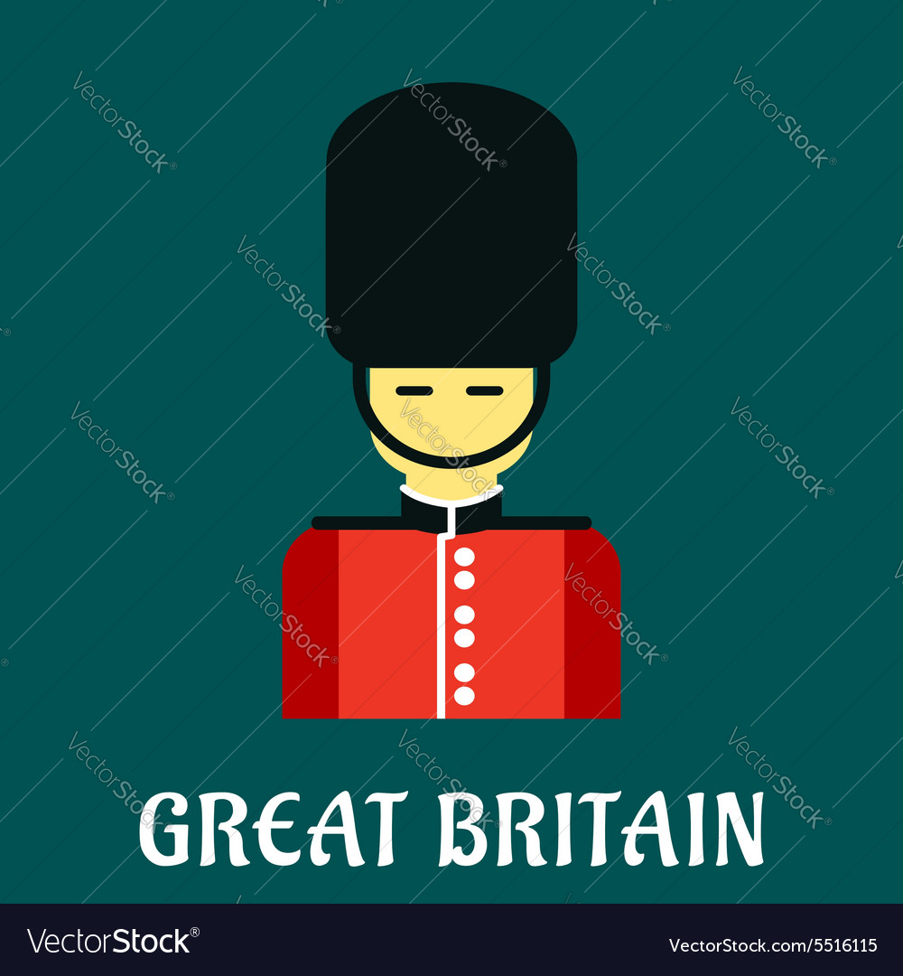 Queen guard soldier flat icon vector