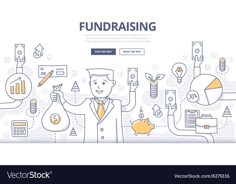 Fundraising doodle concept vector