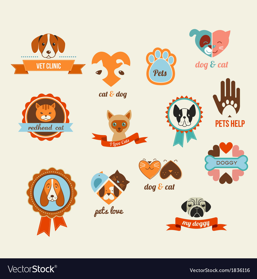 Pets icons  cats and dogs elements vector