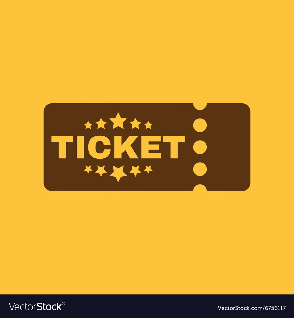 Ticket icon ducket and seat tkt symbol flat vector