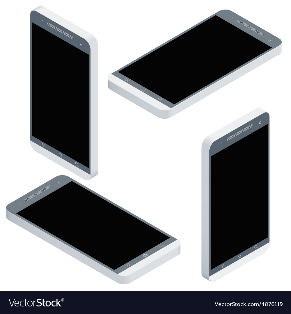 Mobile phone isometrics from four sides icon set vector