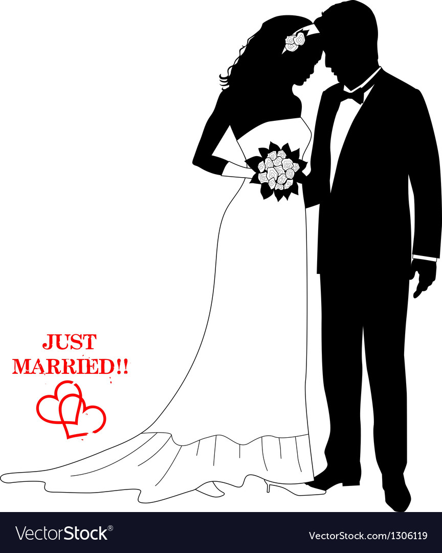 Romantic couple silhouettes with a sign vector