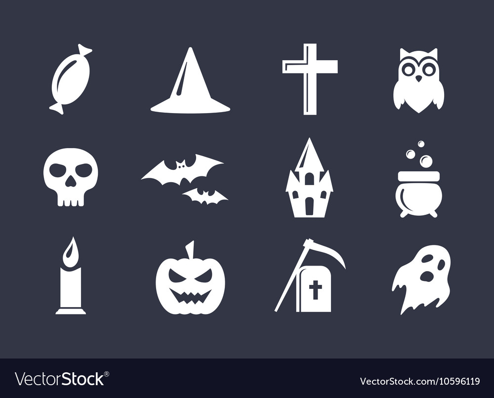 Simple icons set for halloween decoration vector
