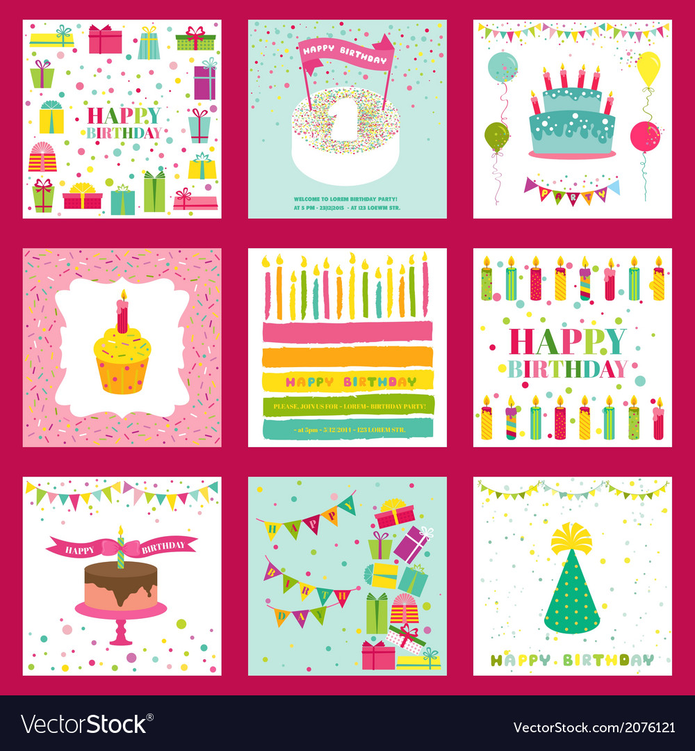 Set of happy birthday and party invitation card vector