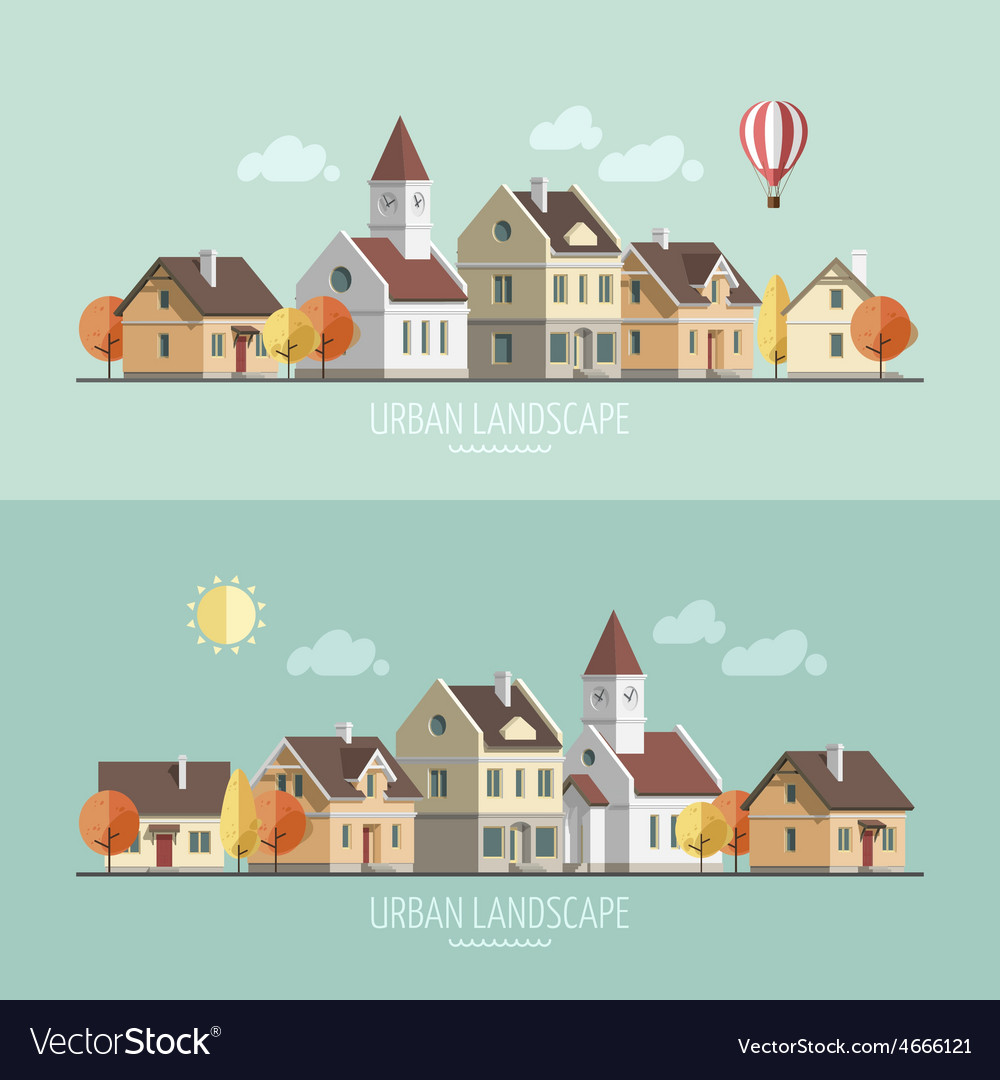 Urban landscape autumn vector