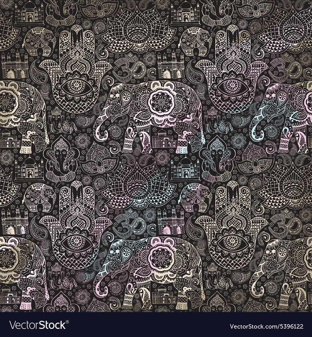 Seamless pattern with indian miniatures vector