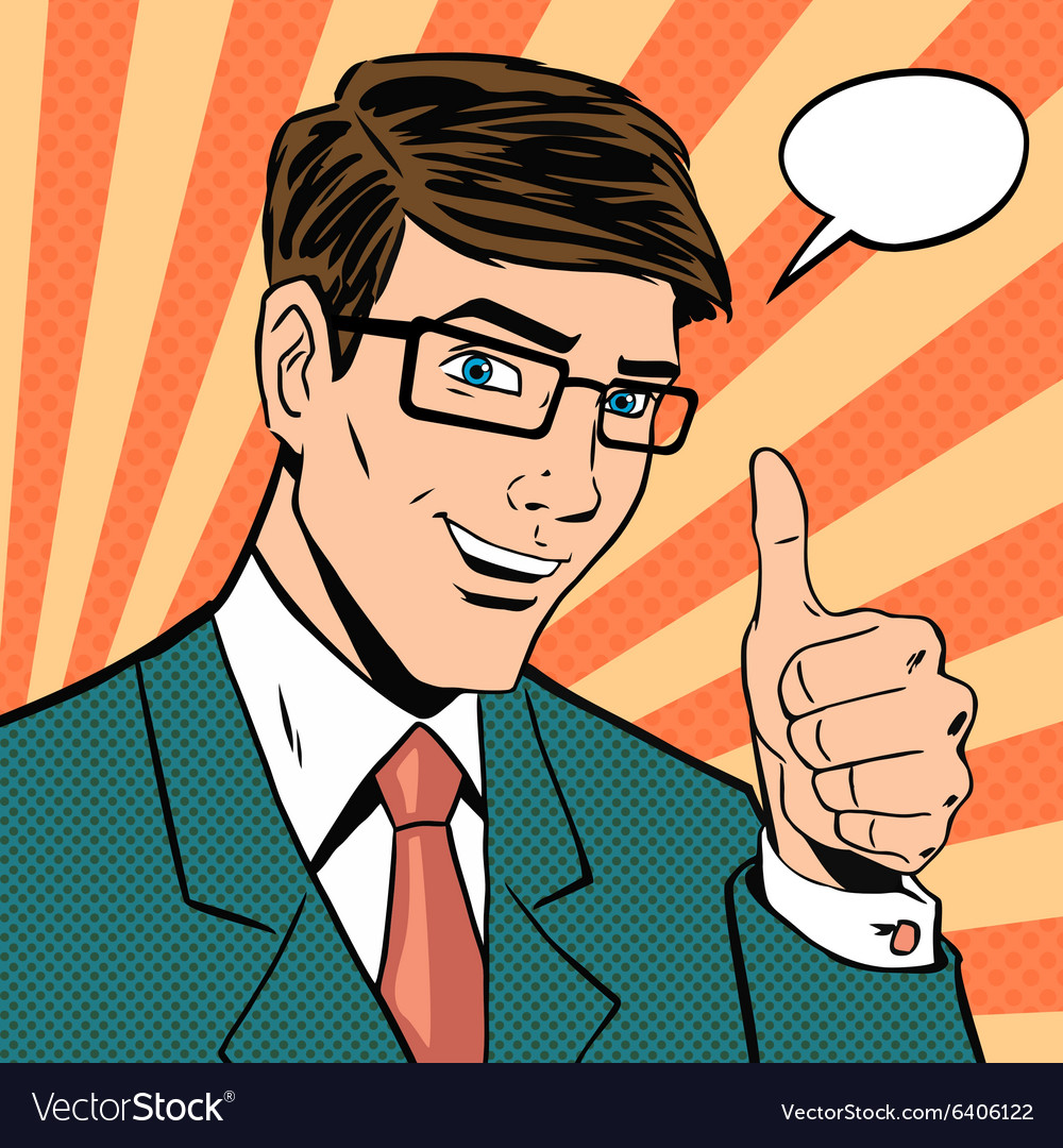 Successful businessman gives thumb up in vintage vector