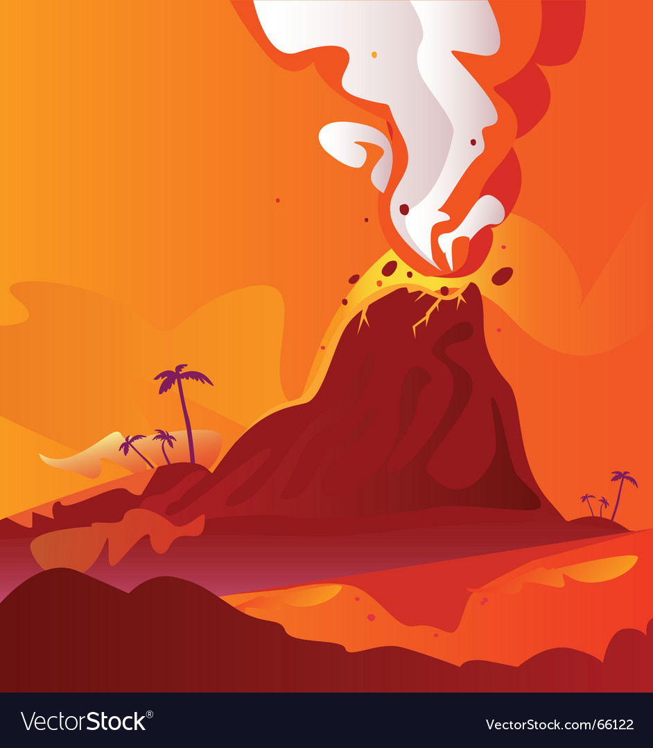 Volcano with burning lava vector