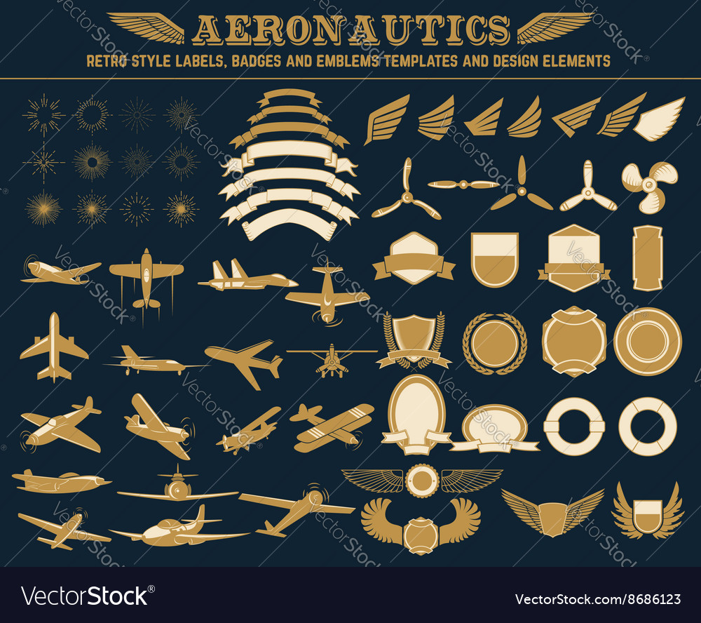 Aeronautics labels templates set vector