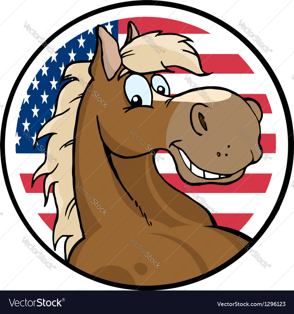 Cartoon horse in front of flag of usa vector