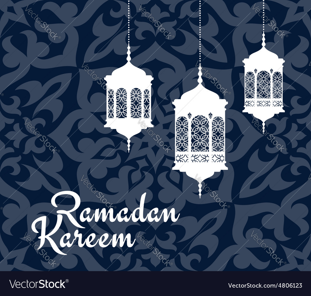 Ramadan kareem greeting card with arabic lanterns vector