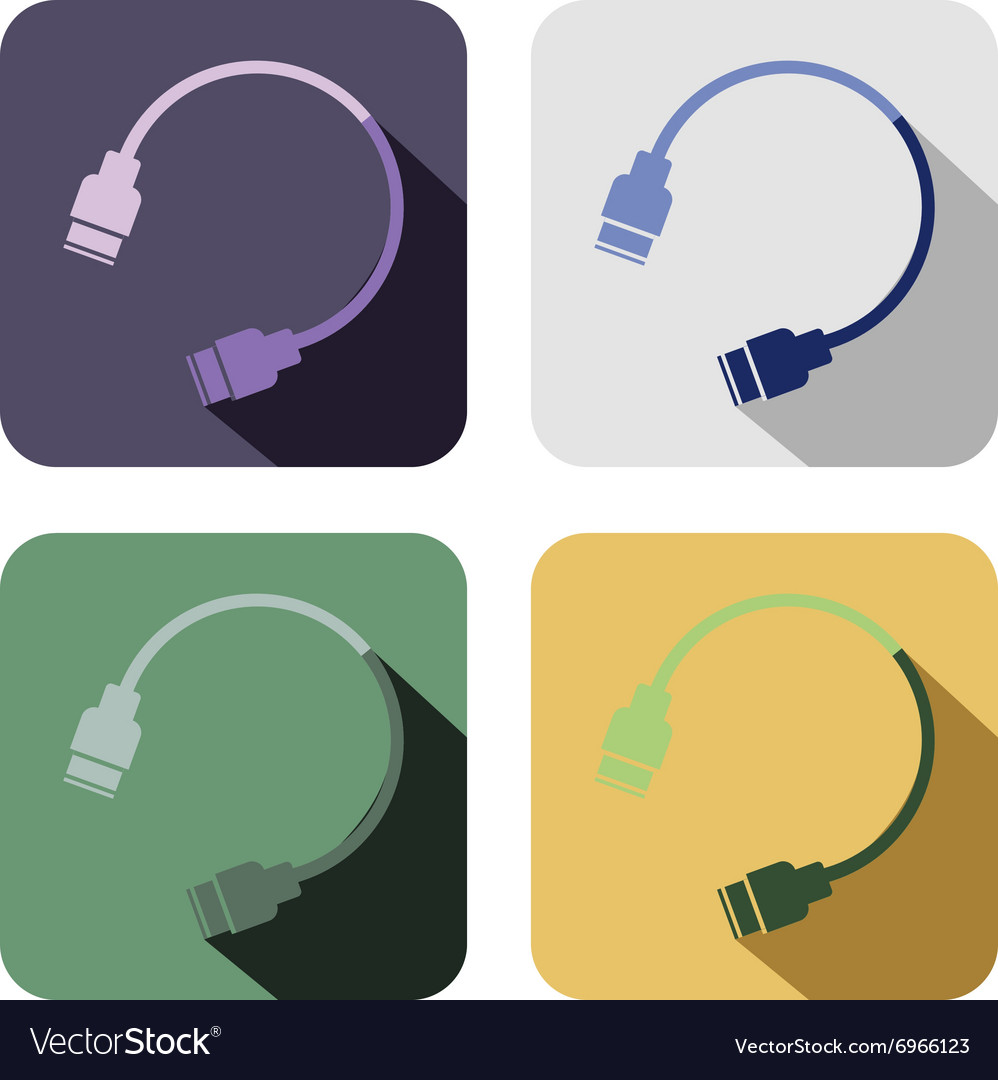 Set of colorful icons of usb cable vector