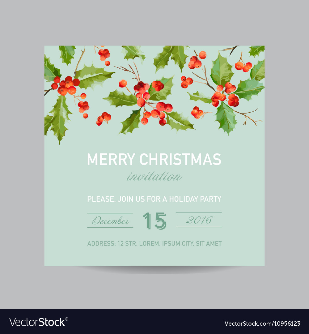 Vintage holly berry christmas card  winter vector