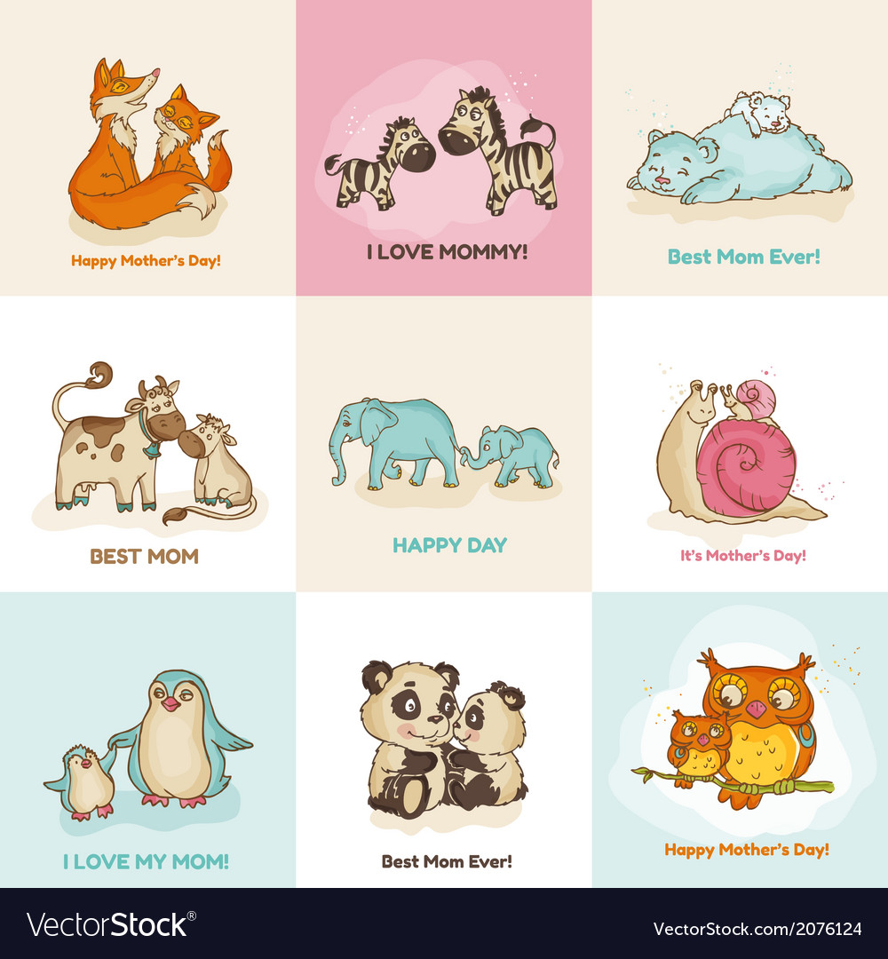 Happy mothers day cards  with cute animals vector