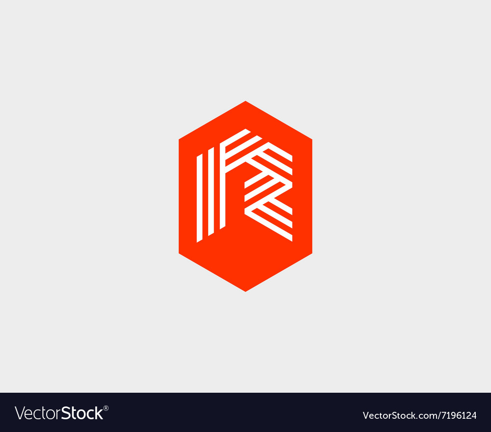 Letter r logo icon design creative line vector