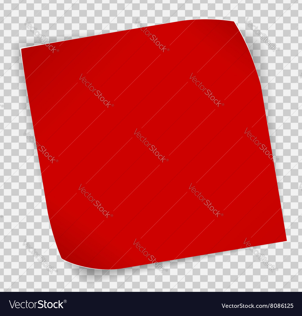 Red paper sticker over transparent background vector