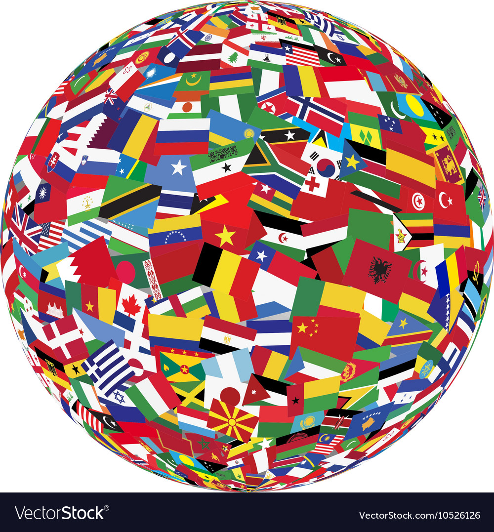 Globe with world flags vector