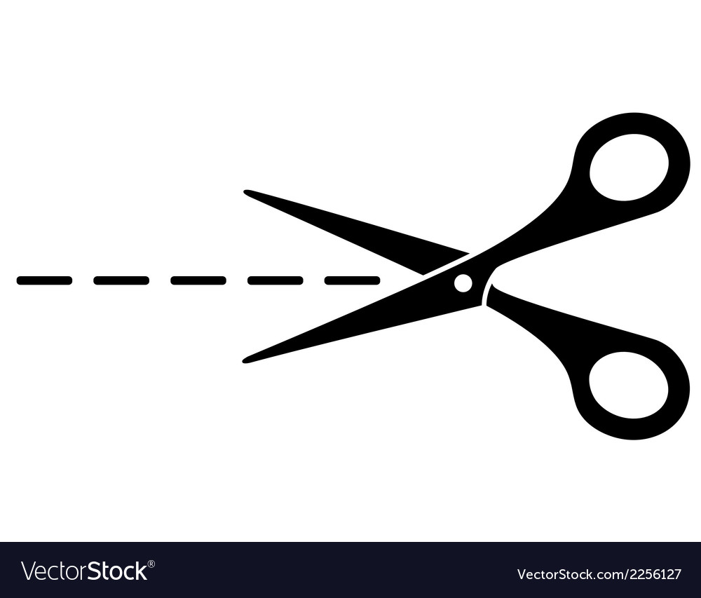 Cut lines and scissors vector