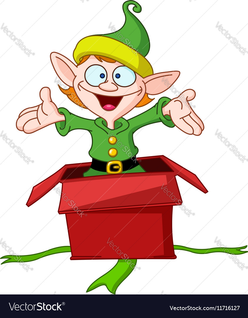 Elf jumps from gift box vector