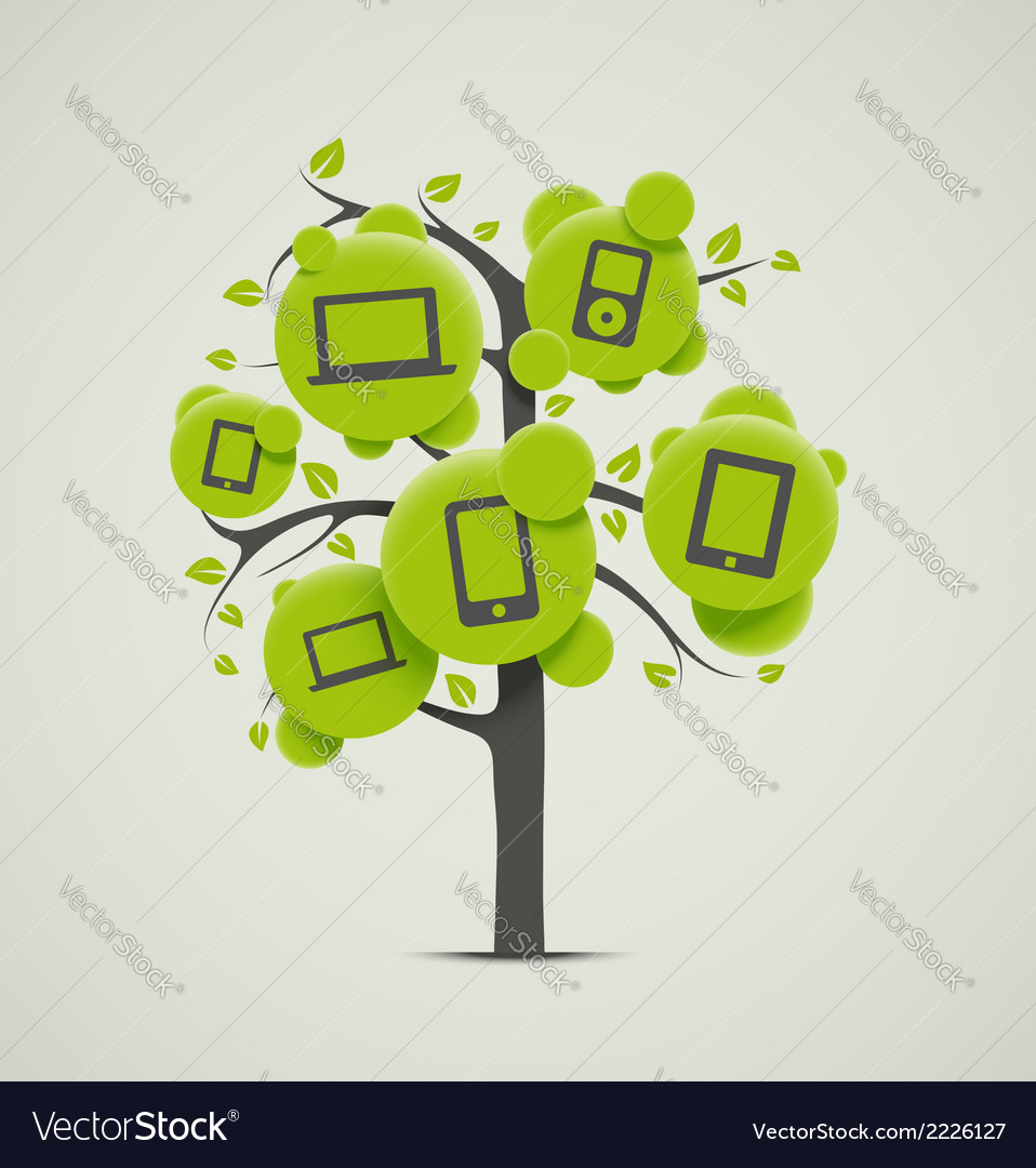 Tree with electronics vector