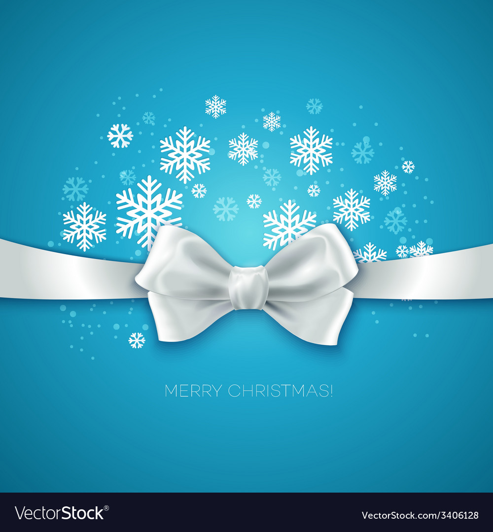 Blue christmas background with white silk bow vector