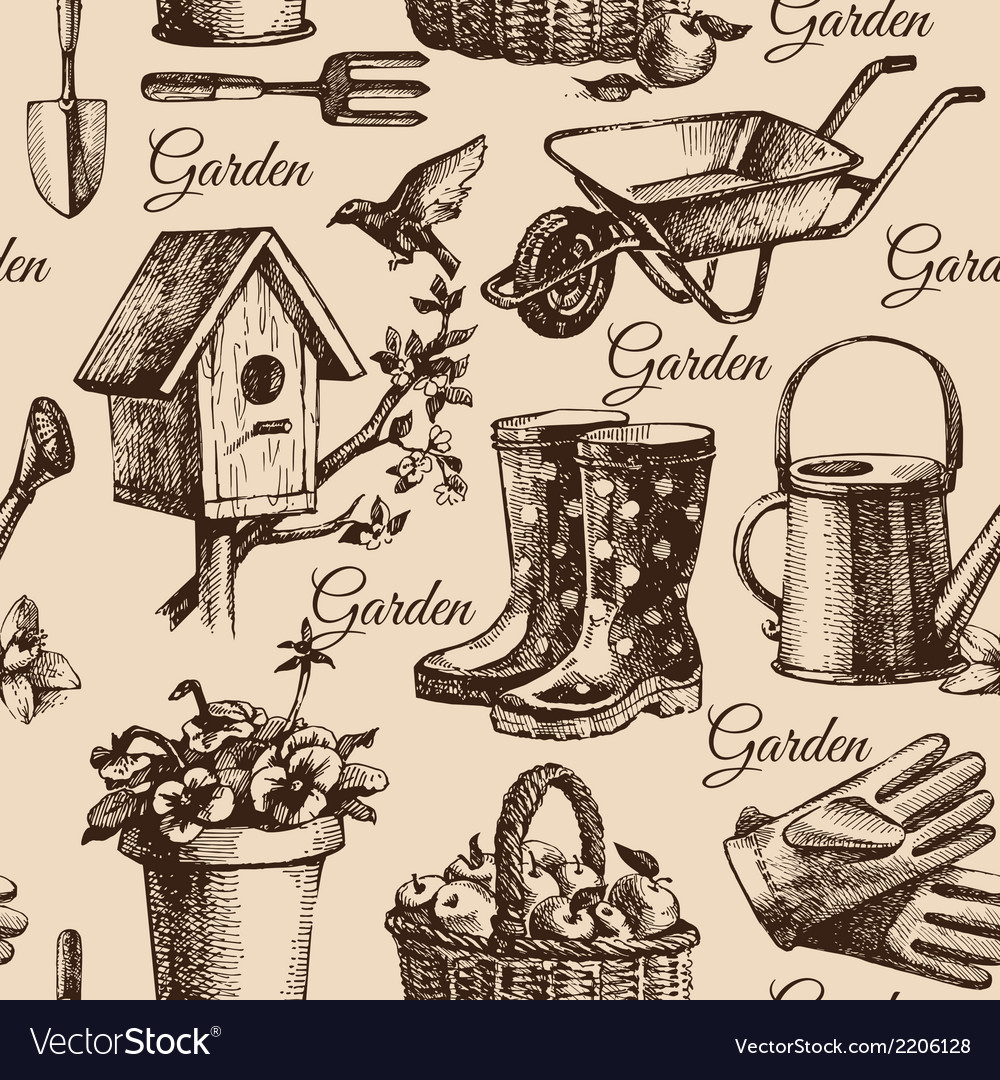 Sketch gardening seamless pattern vector