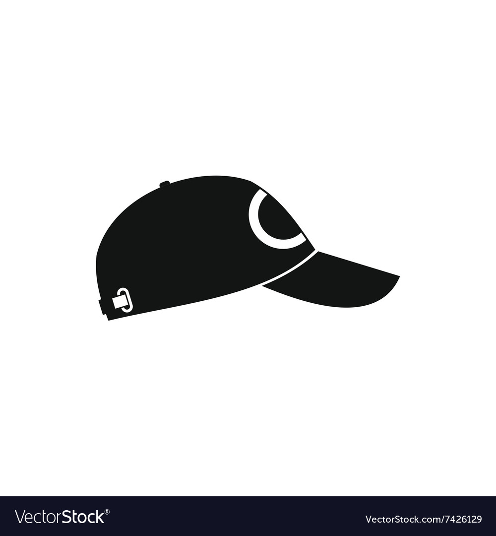 Baseball hat black simple icon vector
