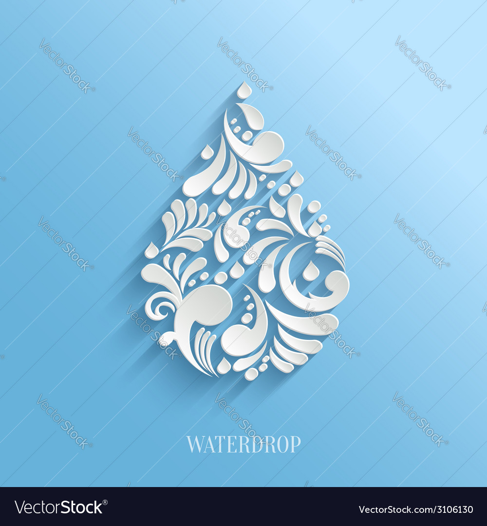 Abstract floral water drop on blue background vector